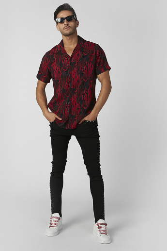 Sustainability Slim Fit Printed Shirt with Short Sleeves