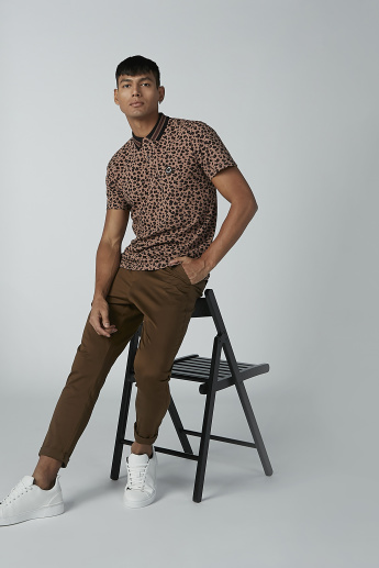 Lee Cooper Animal Printed T-shirt with Polo Neck and Short Sleeves