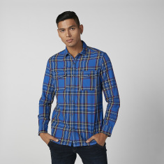Lee Cooper Chequered Shirt with Long Sleeves and Complete Placket