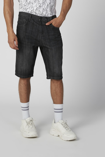 Sustainable Denim Mid Waist Shorts with Pocket Detail
