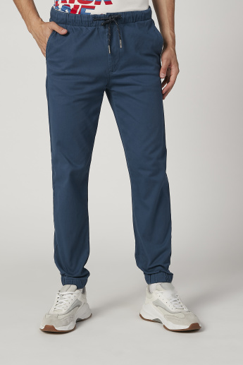 Sustainability Tapered Fit Plain Mid  Waist Jog Pants with Pockets