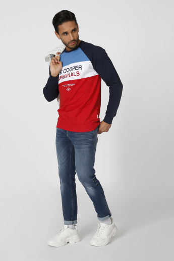 Sustainability Lee Cooper Printed Sweatshirt with Raglan Sleeves