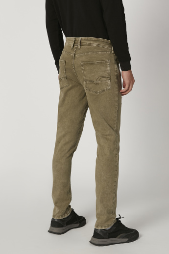 Lee Cooper Skinny Fit Distressed Mid Waist Jeans with Pocket Detail