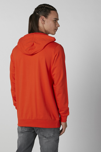 Sustainability Printed Hoodie with Long Sleeves and Kangaroo Pockets