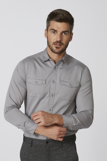 Lee Cooper Plain Shirt with Long Sleeves and Chest Pockets