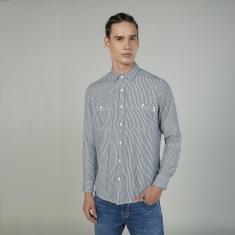 Sustainable Lee Cooper Striped Shirt with Buttoned Patch Pockets