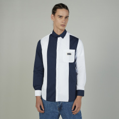 Lee Cooper Striped Shirt with Long Sleeves and Chest Pocket