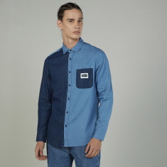 Lee Cooper Cut and Sew Shirt with Long Sleeves and Chest Pocket