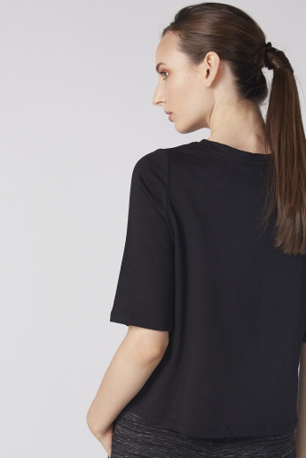 Bossini Embroidered Top with Round Neck and Short Sleeves