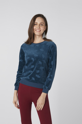 Bossini Textured Sweatshirt with Round Neck and Long Sleeves