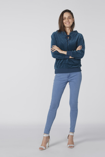 Bossini Textured Sweatshirt with Long Sleeves and Pocket Detail