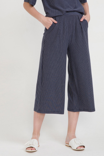 Striped Culottes with Pocket Detail and Elasticised Waistband