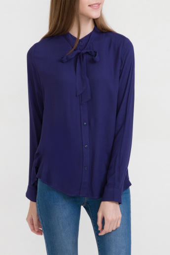 Bossini Pussy Bow Shirt with Long Sleeves and Complete Placket