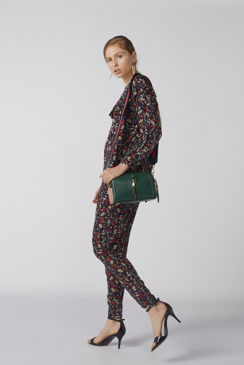 Bossini Floral Printed Top with Long Sleeves and Ruffle Detail