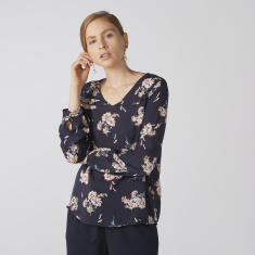 Bossini Floral Printed Top with V-Neck and Long Sleeves