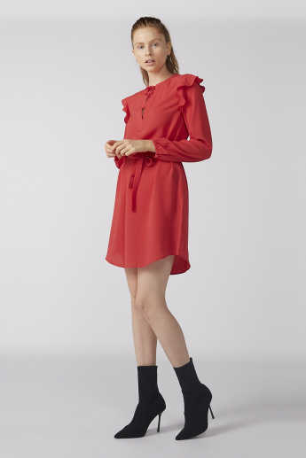 Bossini Mini Dress with Long Sleeves and Ruffle Detail