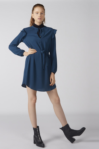 Bossini Mini Dress with Long Sleeves and Tie Up