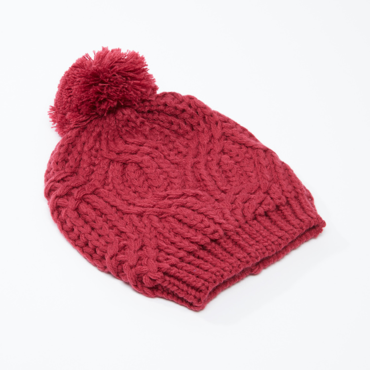 Bossini Textured Beanie Cap with Pom-Pom Detail