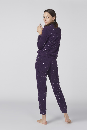 Bossini Printed Long Sleeves Sweat Top with Jog Pants