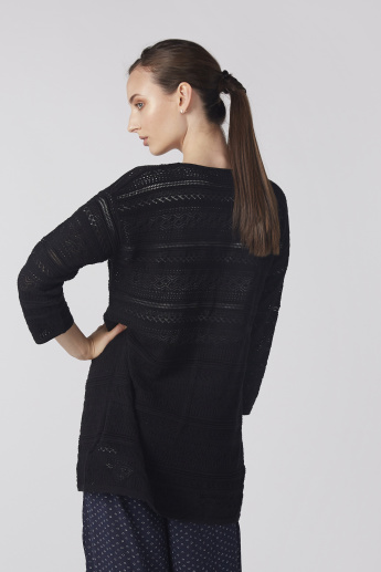 Bossini Textured Open Front Cardigan with 3/4 Sleeves