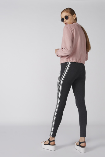 Bossini Striped Leggings with Elasticised Waistband