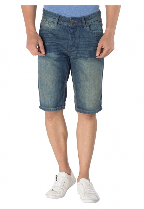 Whiskered Denim Shorts