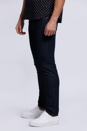 Printed Full Length Jeans with Button Closure