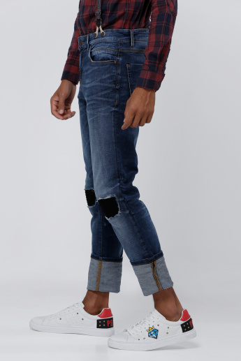 Sustainability Distressed Full Length Jeans with Button Closure