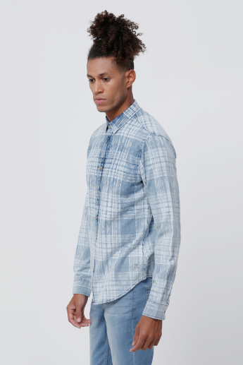 Chequered Denim Shirt with Long Sleeves
