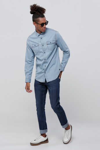 Long Sleeves Light Wash Denim Shirt