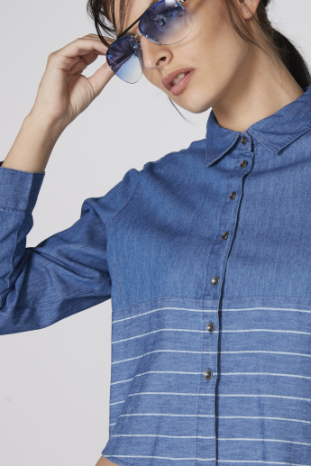 Striped Crop Shirt with Long Sleeves and Complete Placket