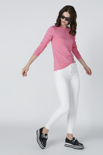 Low-Rise Jeans with Drawstring and Pocket Detail