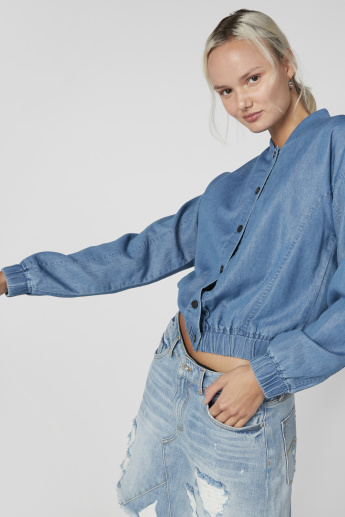 Long Sleeves Crop Jacket with Complete Placket