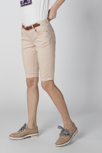 Sustainability Denim Low-Rise Shorts with Pocket Detail