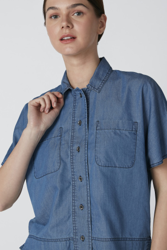 Extended Sleeves Shirt with Pocket Detail