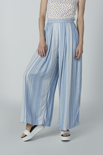 Striped Palazzo Pants with Elasticized Waistband
