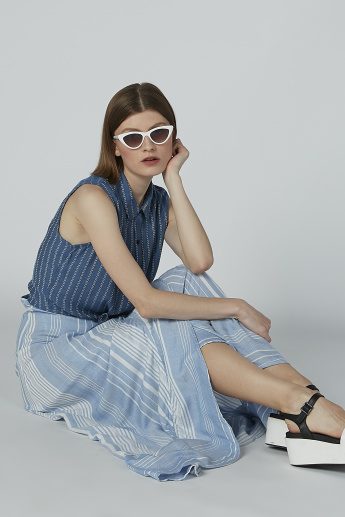 Striped Sleeveless Shirt with Spread Collar and Knot Detail