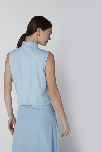 Plain Sleeveless Shirt with Knot Detail