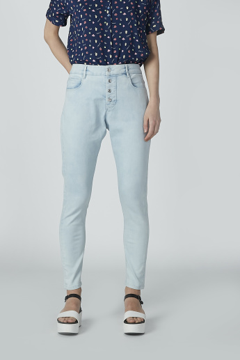 Full Length Plain Jeans with Pocket Detail