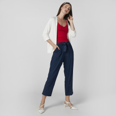 Solid Pants with Paper Bag Waist and Pocket Detail