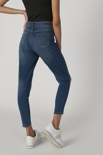 Sustainable Skinny Fit Full Length Mid Waist Jeans with Pockets