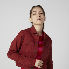 Sustainable Plain Denim Jacket with Long Sleeves and Flap Pockets