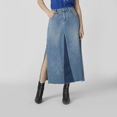 Sustainability Denim Maxi A-line Skirt with Pocket Detail and Slit