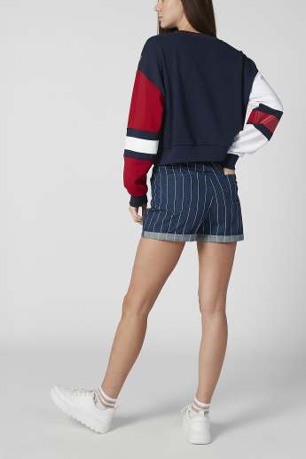 Sustainability Skinny Fit Striped Mid Waist Shorts with Pockets
