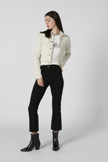 Sustainability Plain Denim Jacket with Long Sleeves and Flap Pockets