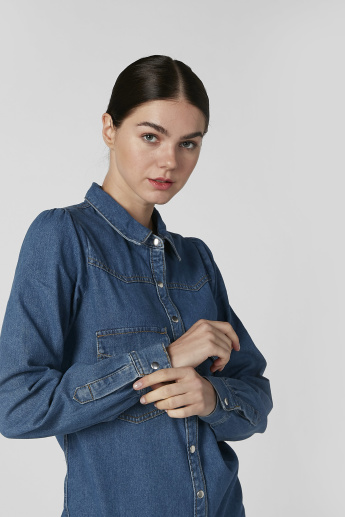 Denim Tunic with Spread Collar and Long Sleeves