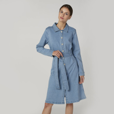 Plain Midi Shirt Dress with Spread Collar and Long Sleeves