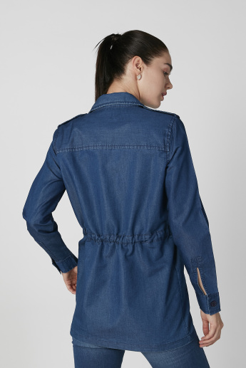 Sustainability Denim Jacket with Long Sleeves and Tie Ups