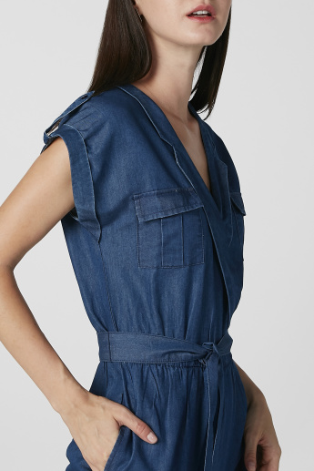 Sustainability Plain Jumpsuit with Extended Sleeves and Pockets