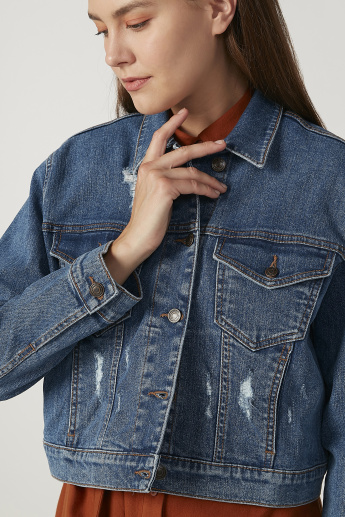 Distressed Denim Jacket with Long Sleeves and Flap Pockets